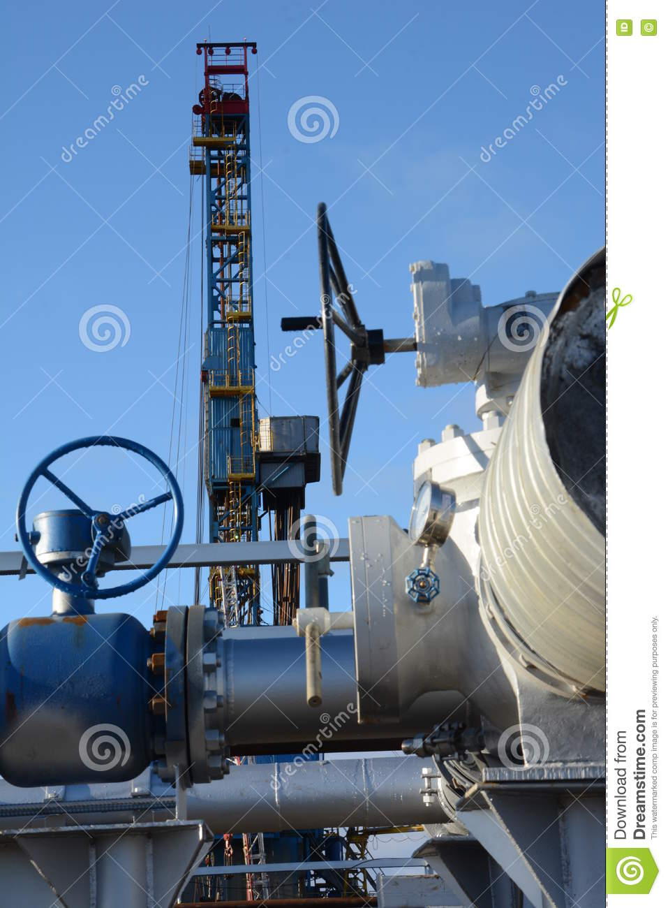 Pipe Fittings On A Background Of The Drilling Rig Stock Image