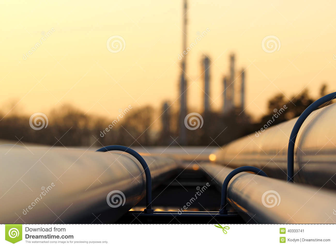 Pipe Line Transportation In Crude Oil Refinery Stock Photo