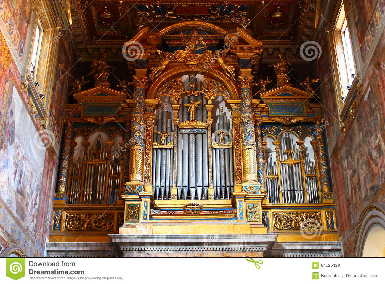 Download Pipe Organ From Large Italian Cathedral, Golden Details Stock Photo - Image of religion, church: 84625428