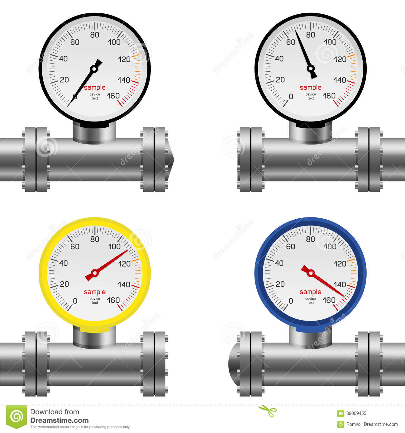 Oil And Gas Measuring Instruments : Gauge on pipe stock image cartoondealer