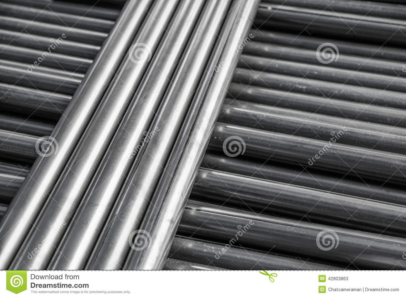Steel pipe products and metal file on a working table