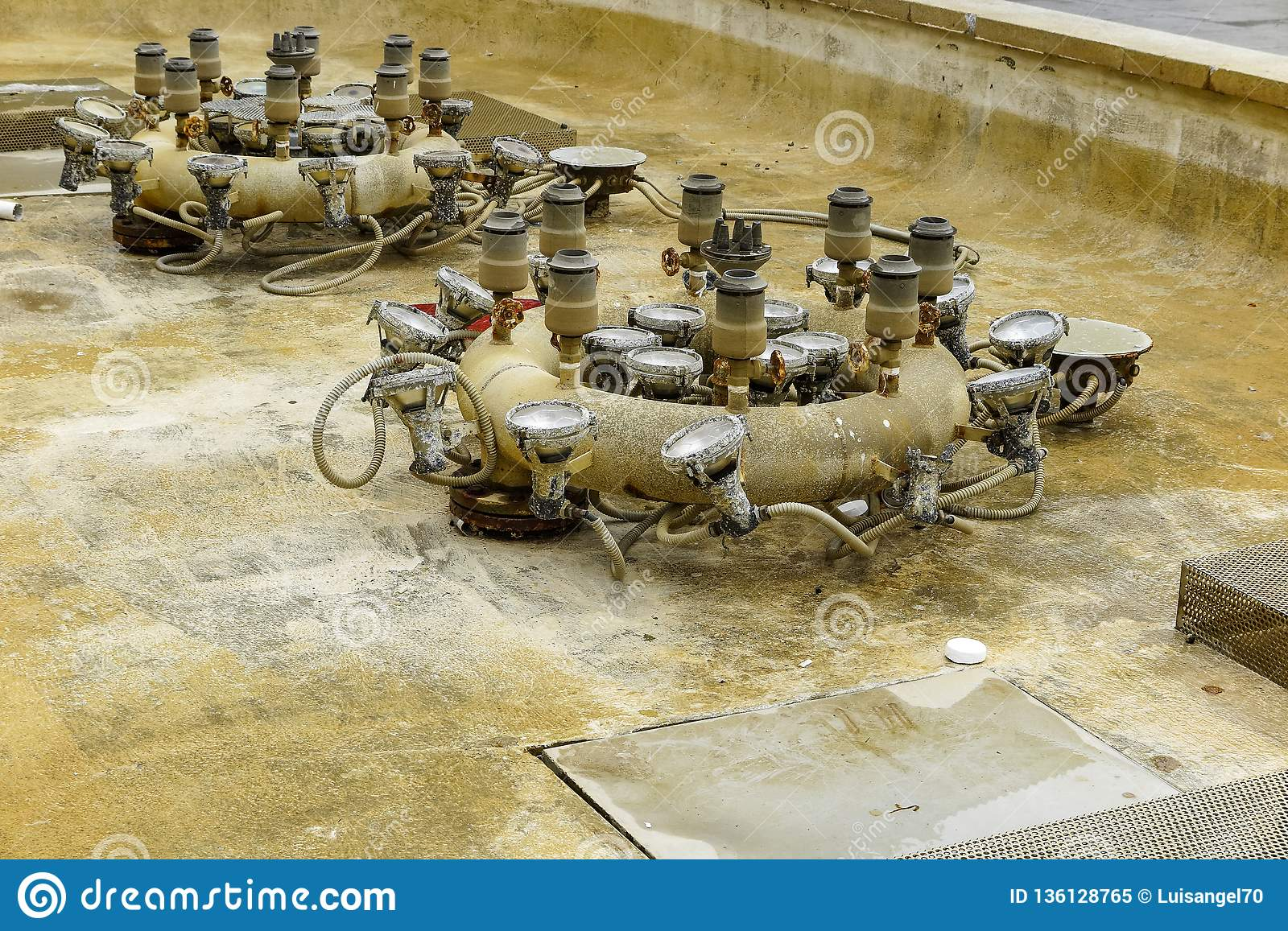 Pipe System And Lights In An Empty Fountain Stock Image   Image of ...