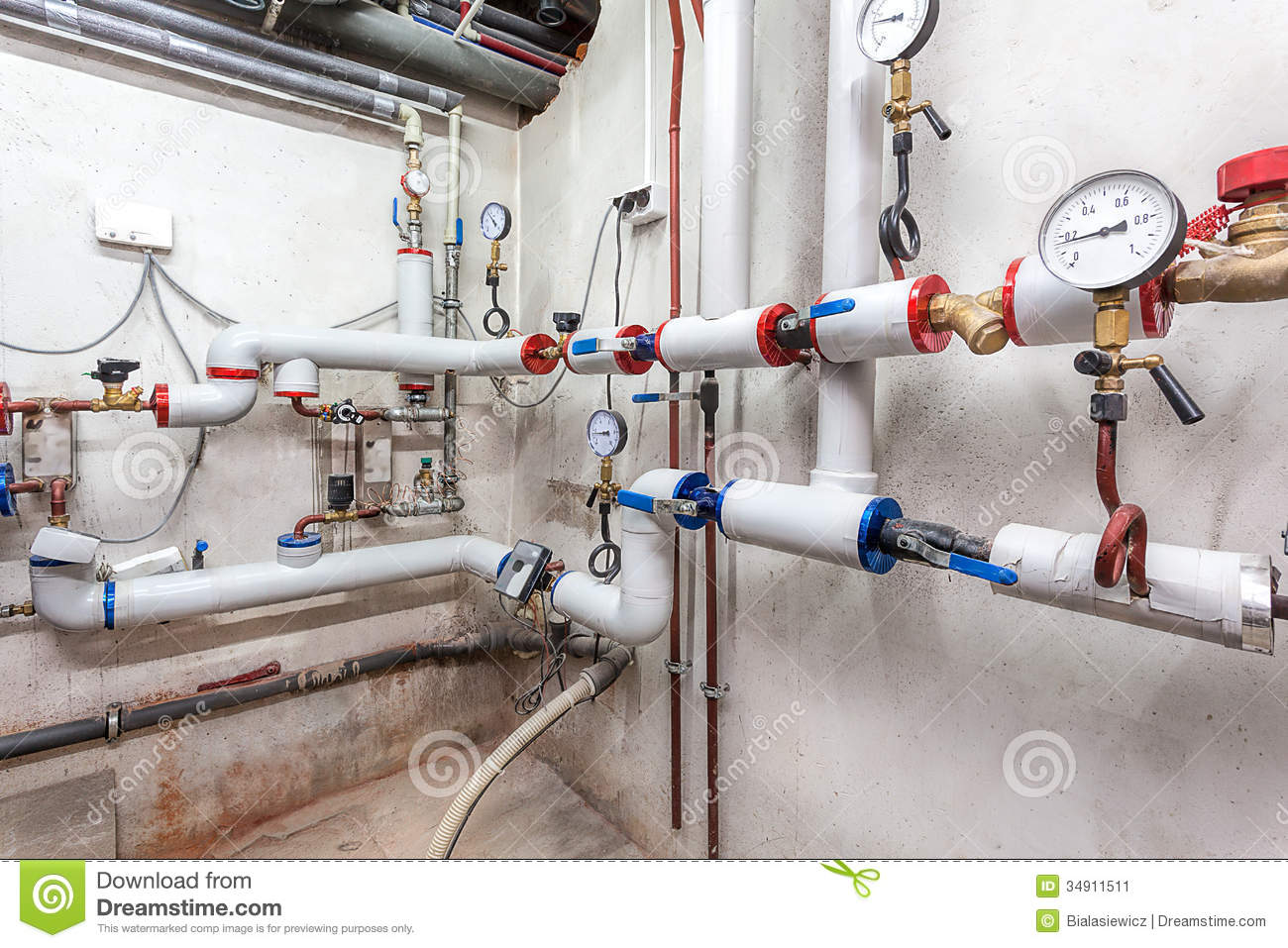 Basement pipelines grey stock photography cartoondealer for Which heating system is best for a house