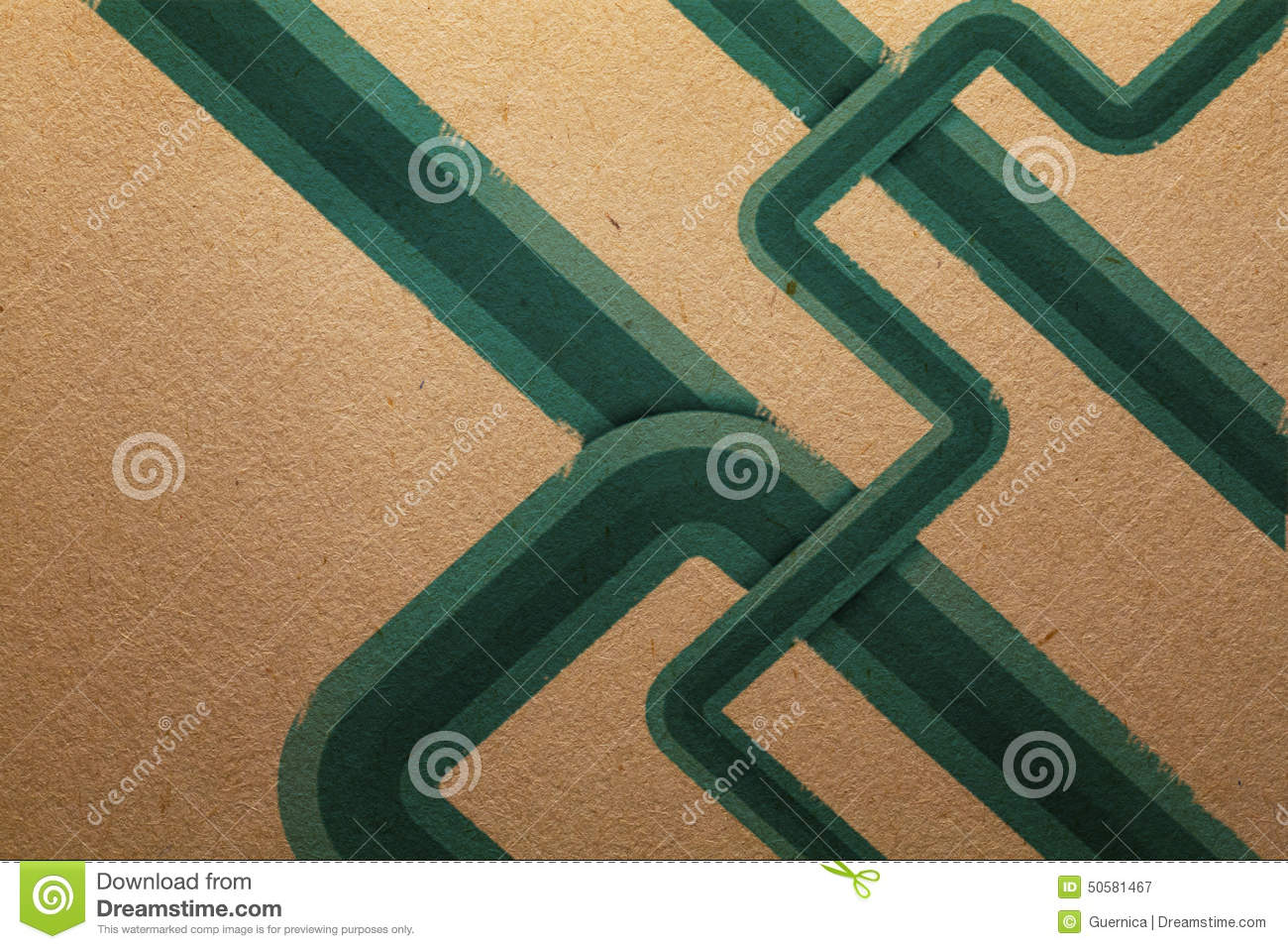 Green Energy stripes on recycled paper Grunge vintage background