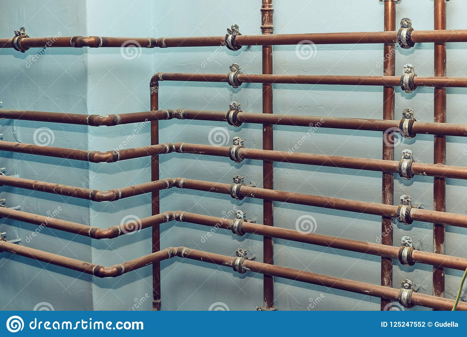 Many Heating Pipes stock photo. Image of installation - 125247552