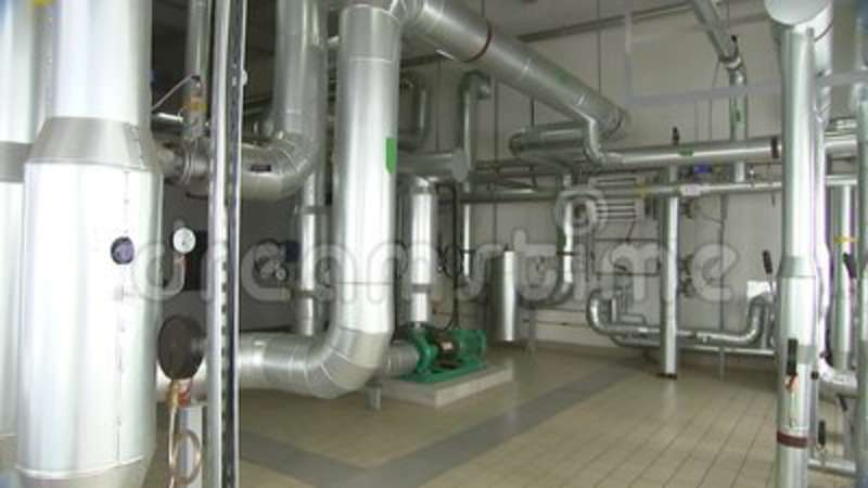 Pipes Inside The Boiler Room, Heating Station Stock Footage - Video ...