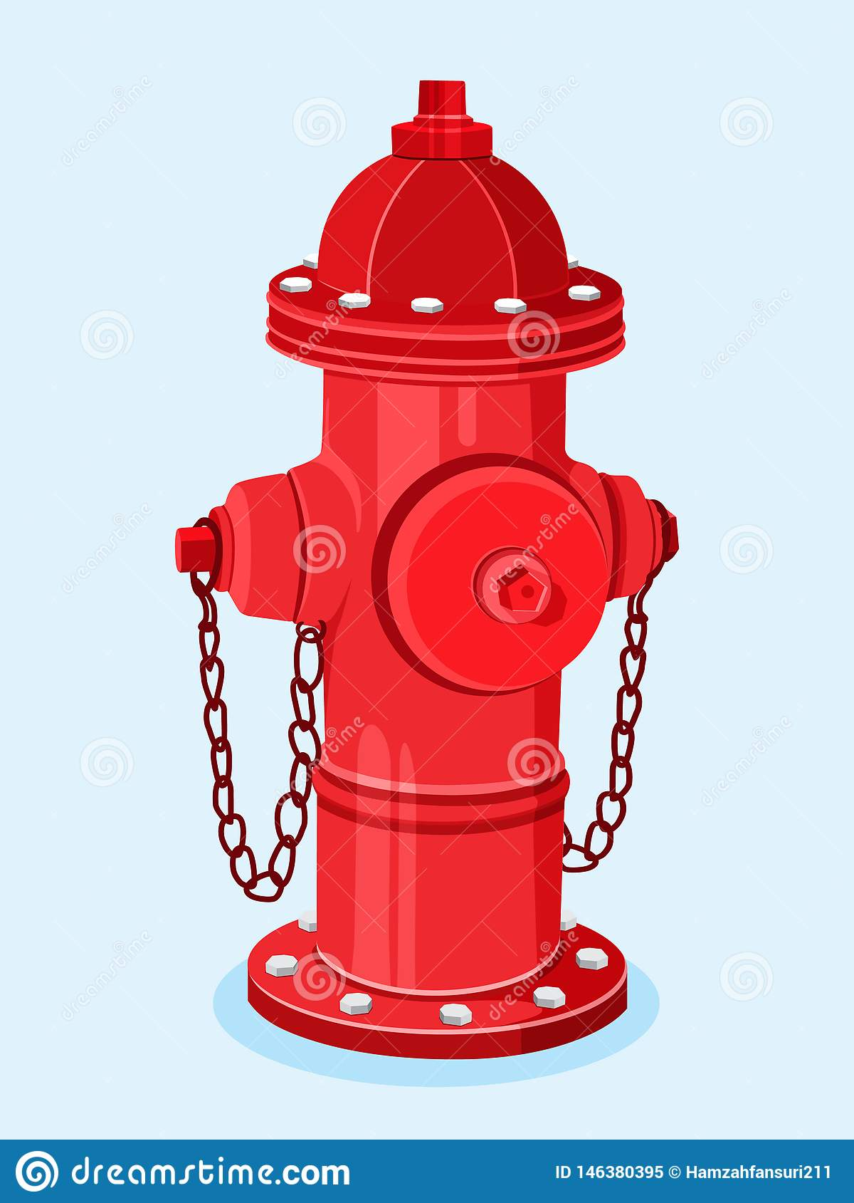 Isometric Red Fire Hydrant Vector Illustration