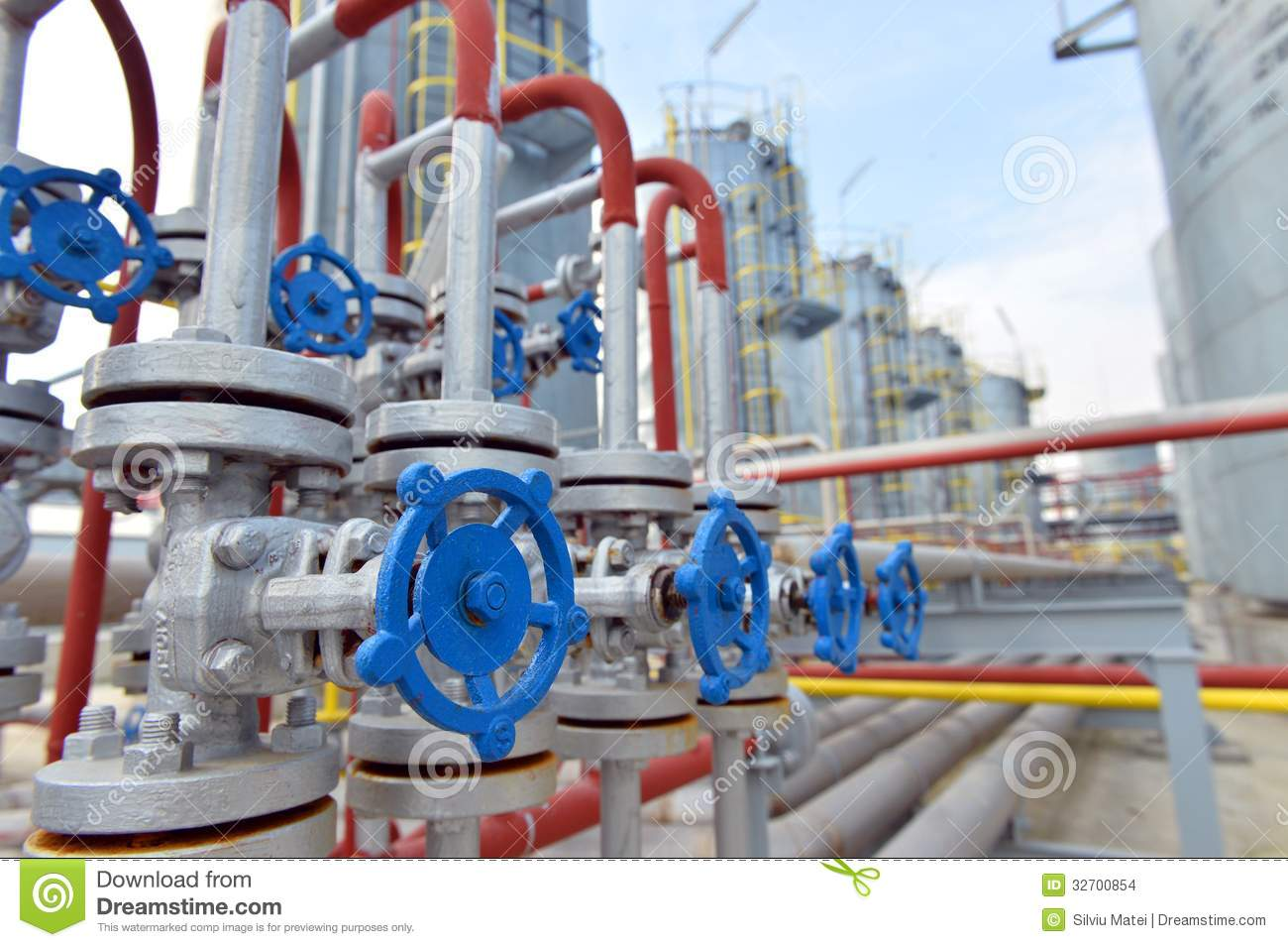 Pipes and valves in petrochemical factory