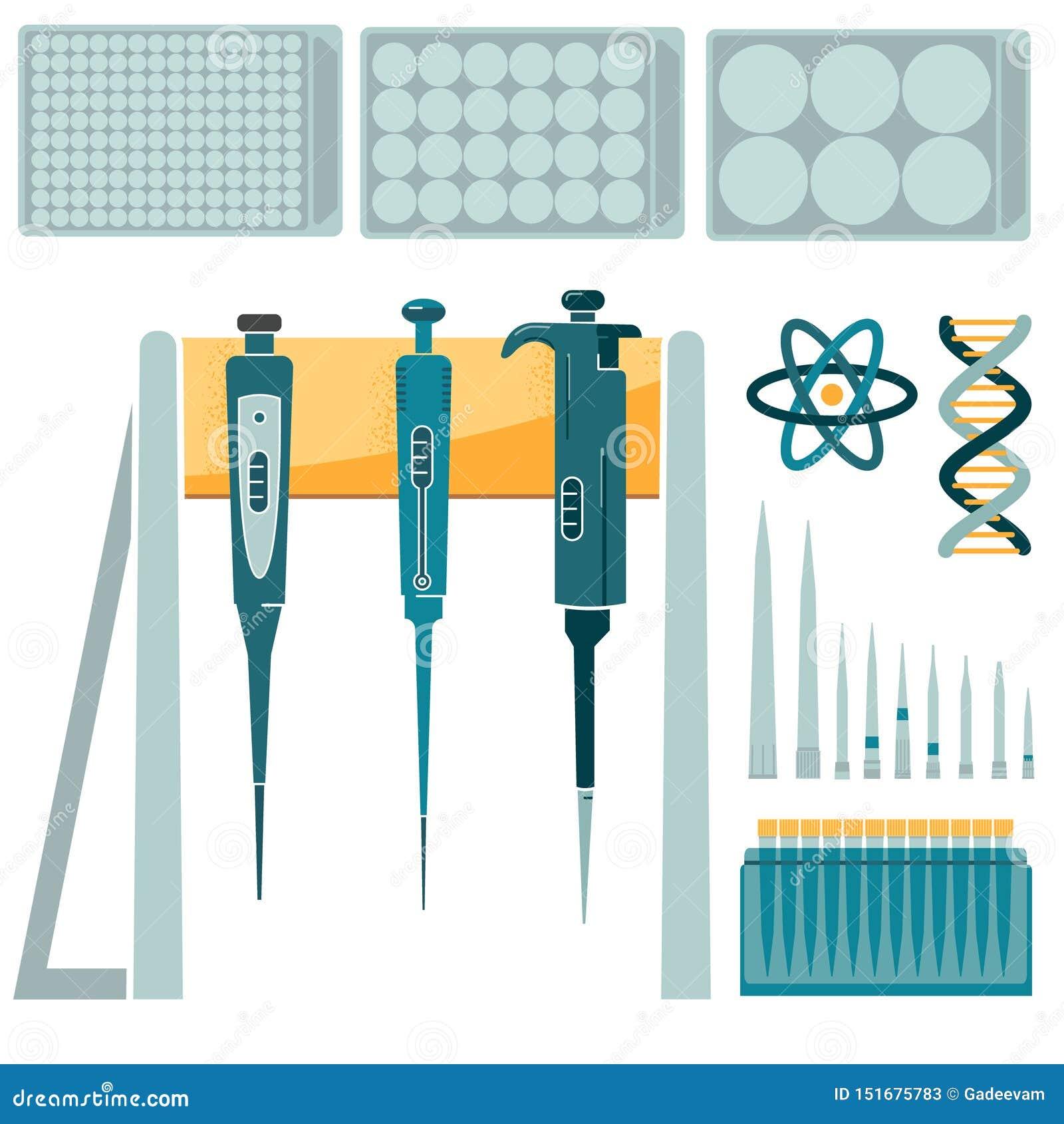 Pipetta del laboratorio ed insieme delle punte di volume differente