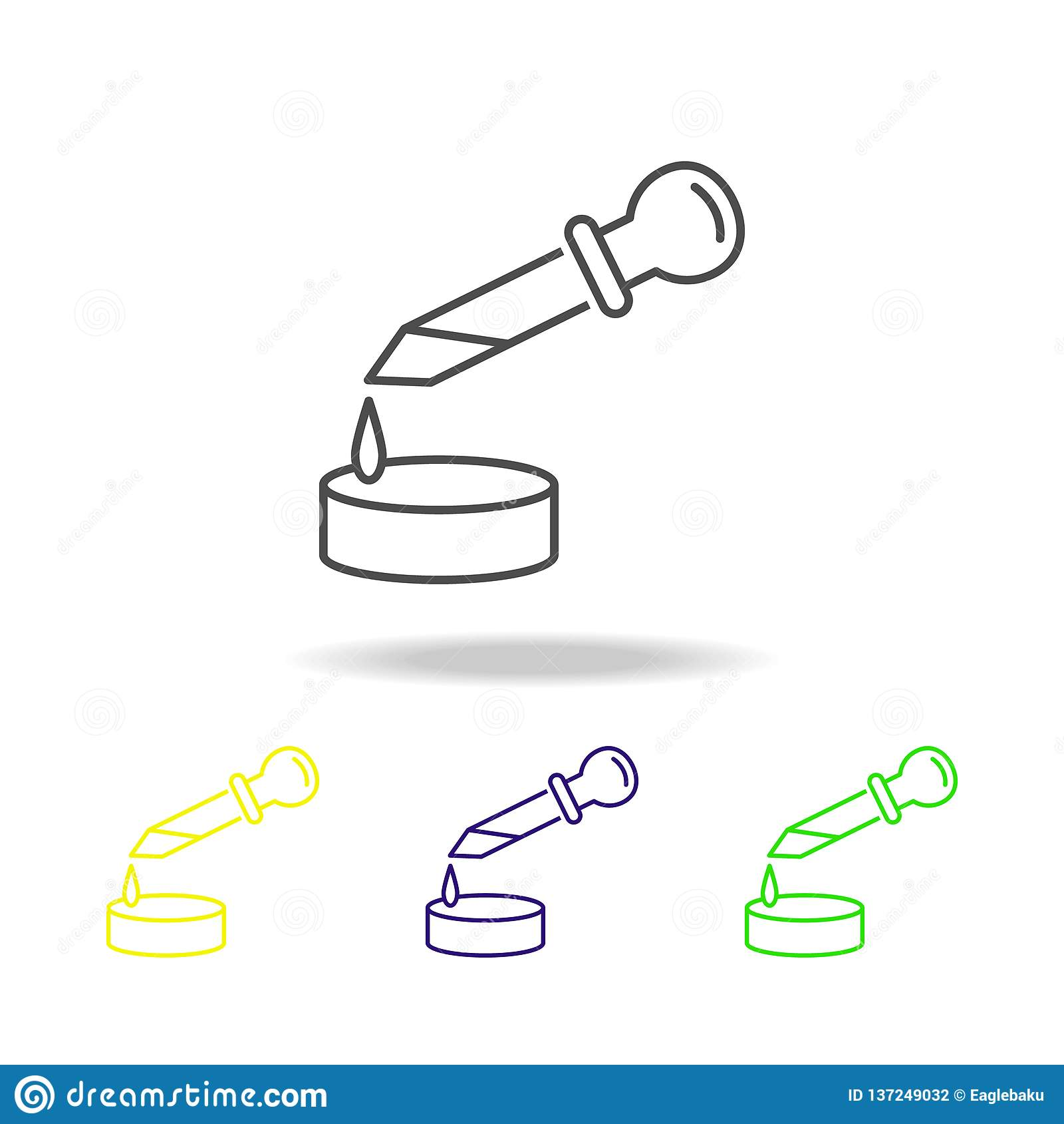 Pipette Colored Icons  Element Of Science Illustration  Thin Line