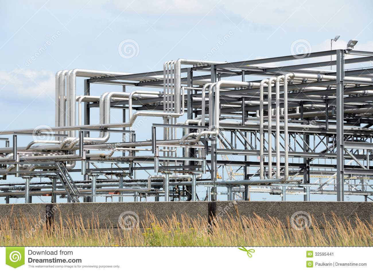 Chemical Piping Systems : Piping systems stock image of construction steel