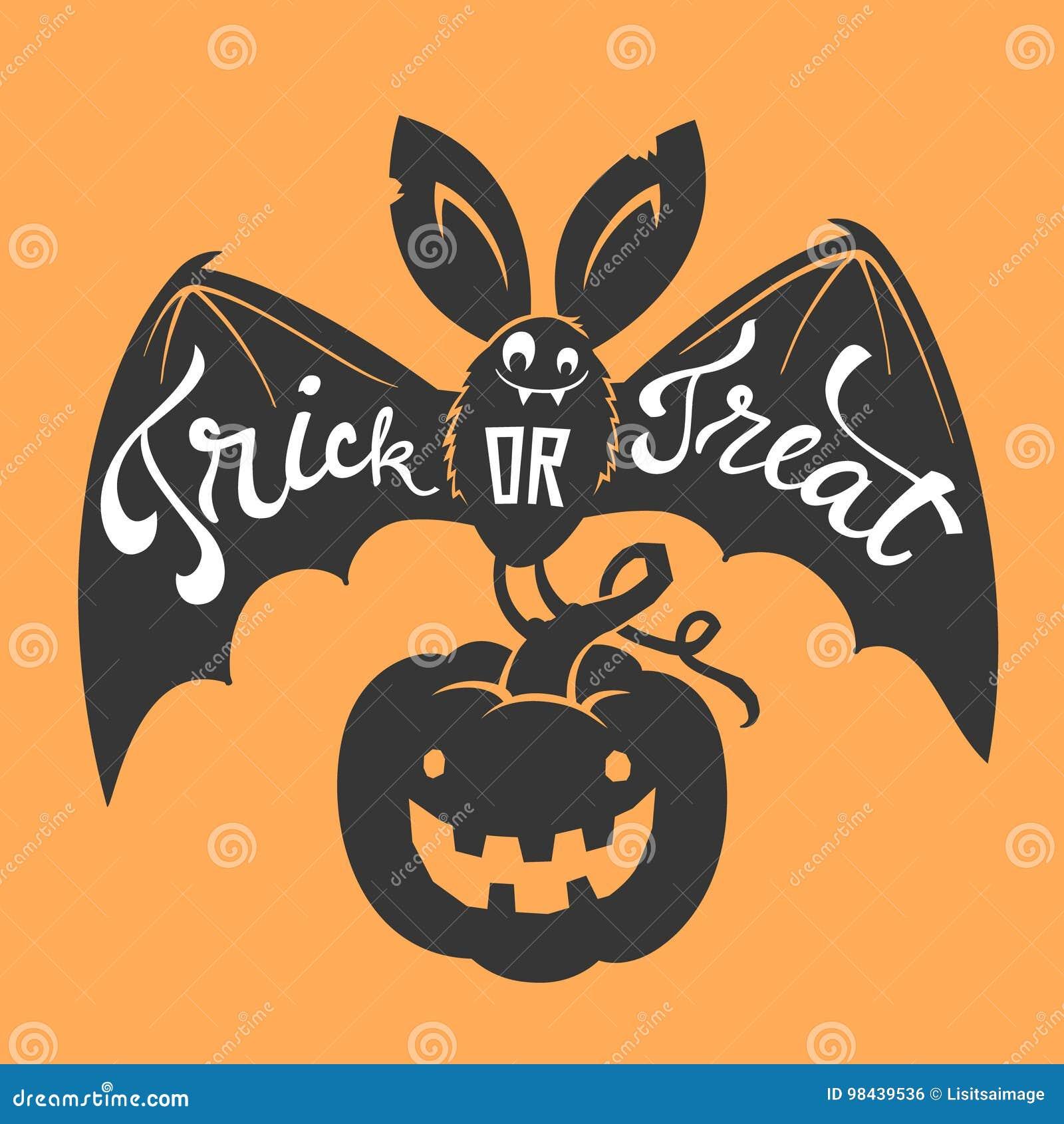 Pipistrello sorridente del fumetto divertente con le ali spante ed iscrizione di scherzetto o dolcetto che porta la zucca scolpit