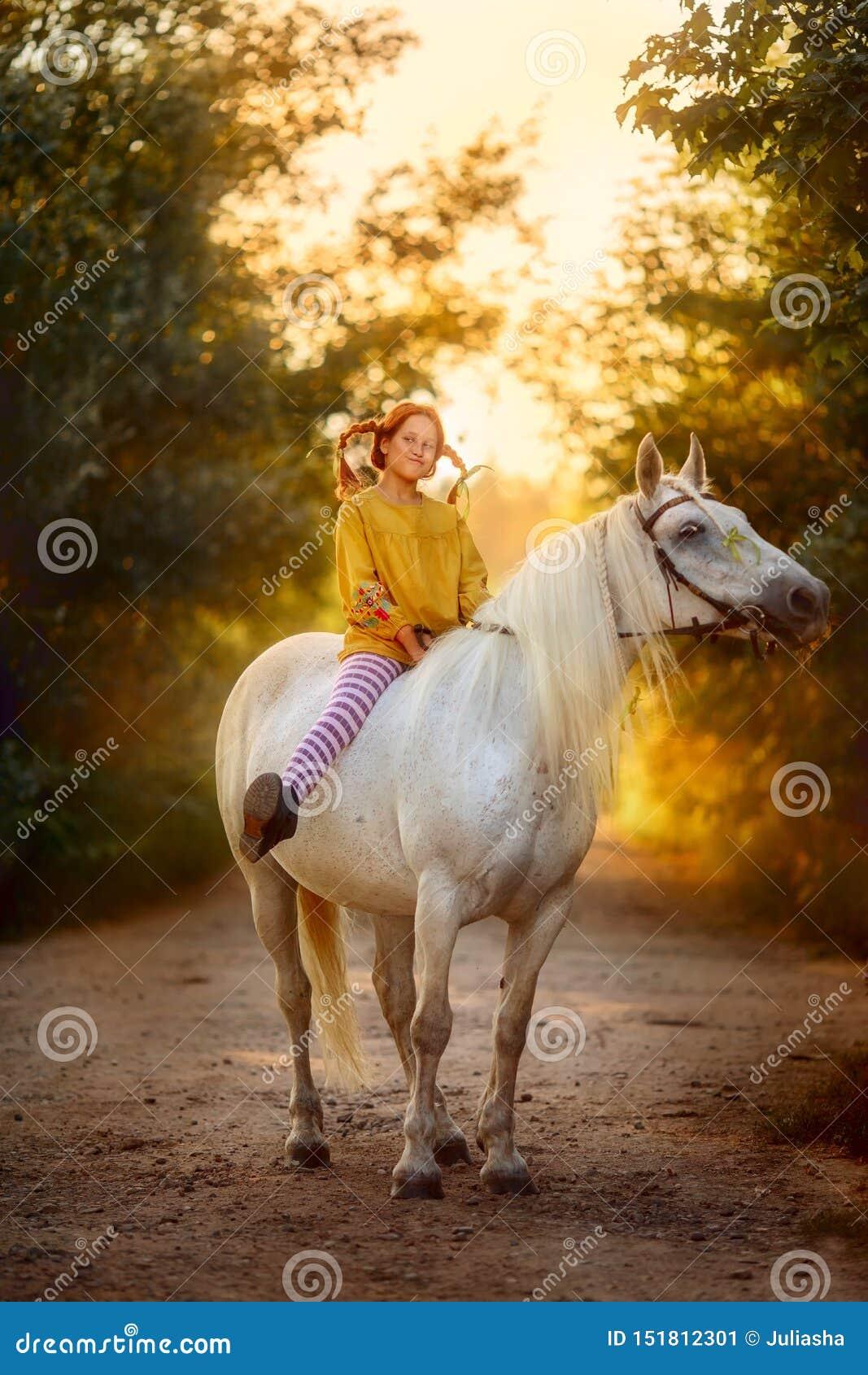 Pippi Longstocking met haar paard