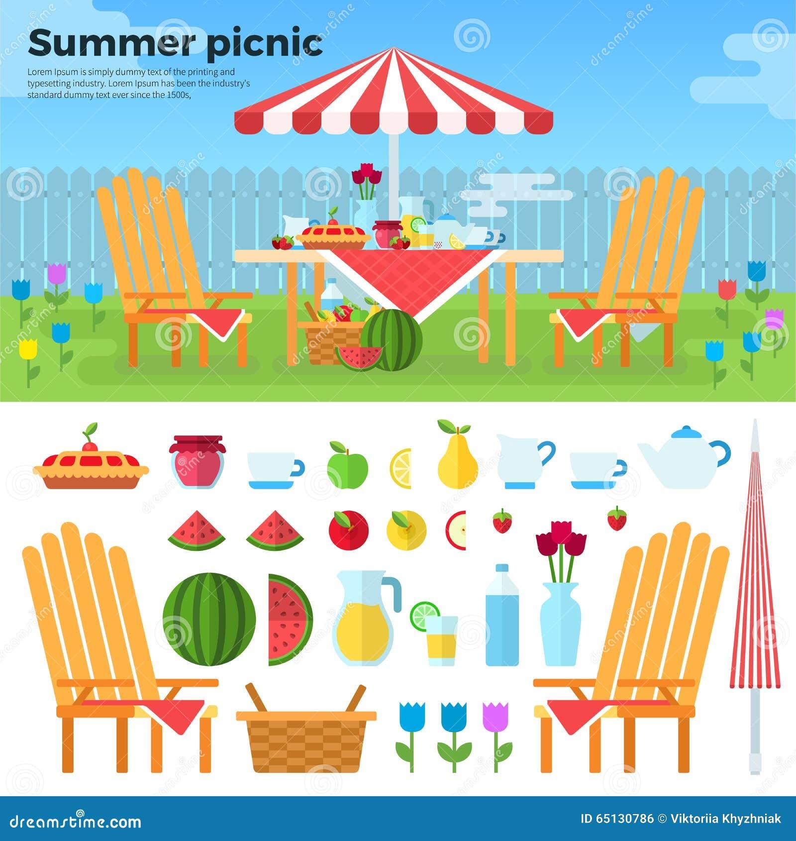 Pique-nique d été et icônes des nourritures