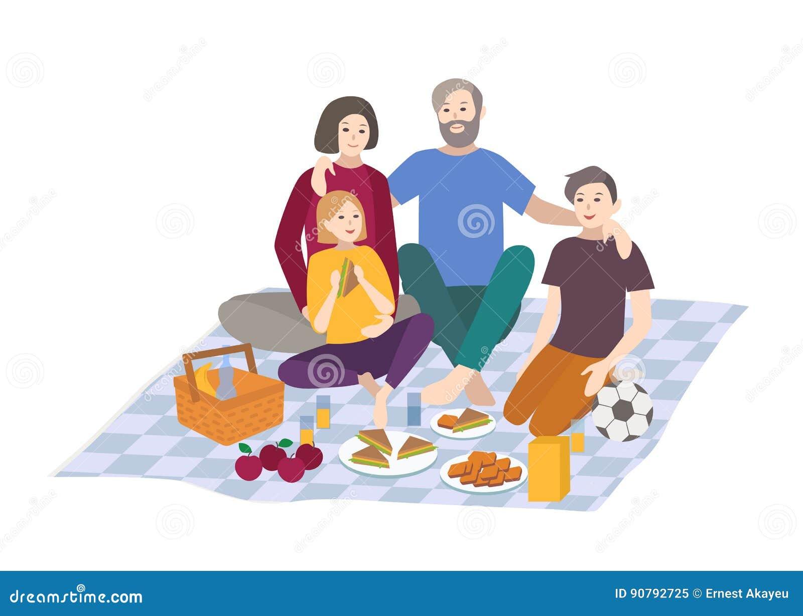 Pique-nique, illustration de vecteur La famille avec des enfants ensemble, extérieur détendent scène de récréation de personnes d