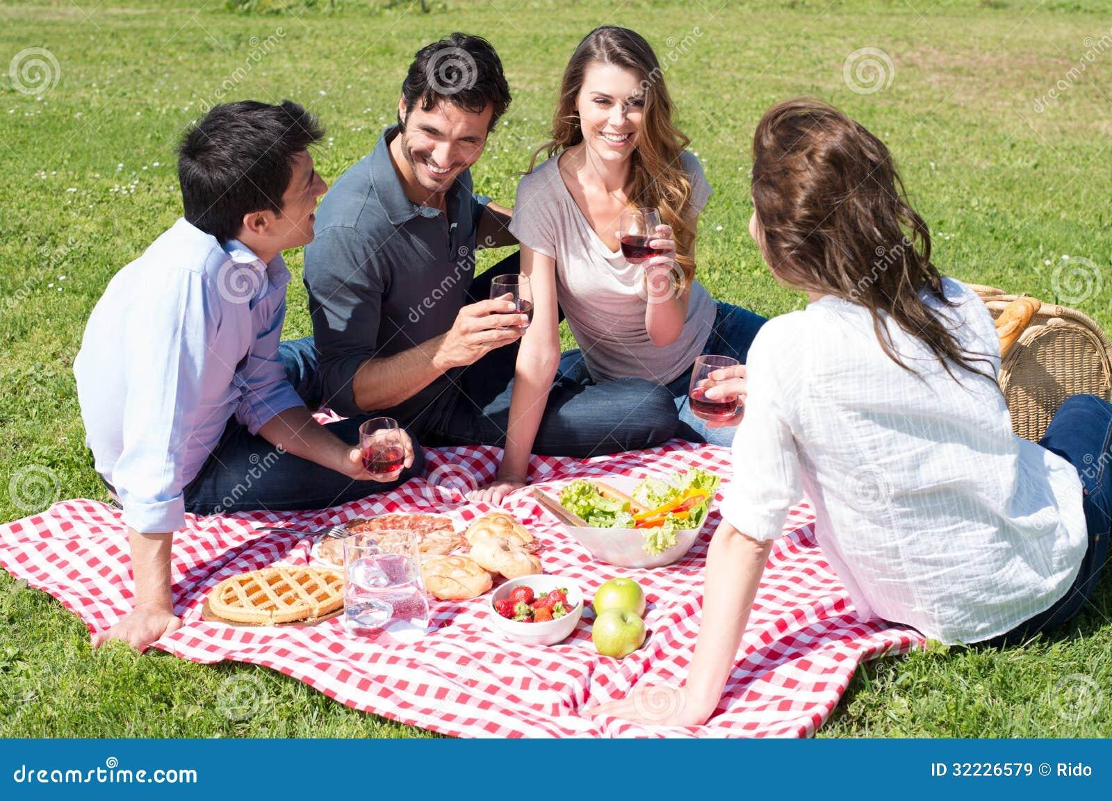 Download Piquenique Com Os Amigos No Parque Imagem de Stock - Imagem de cheer, celebration: 32226579
