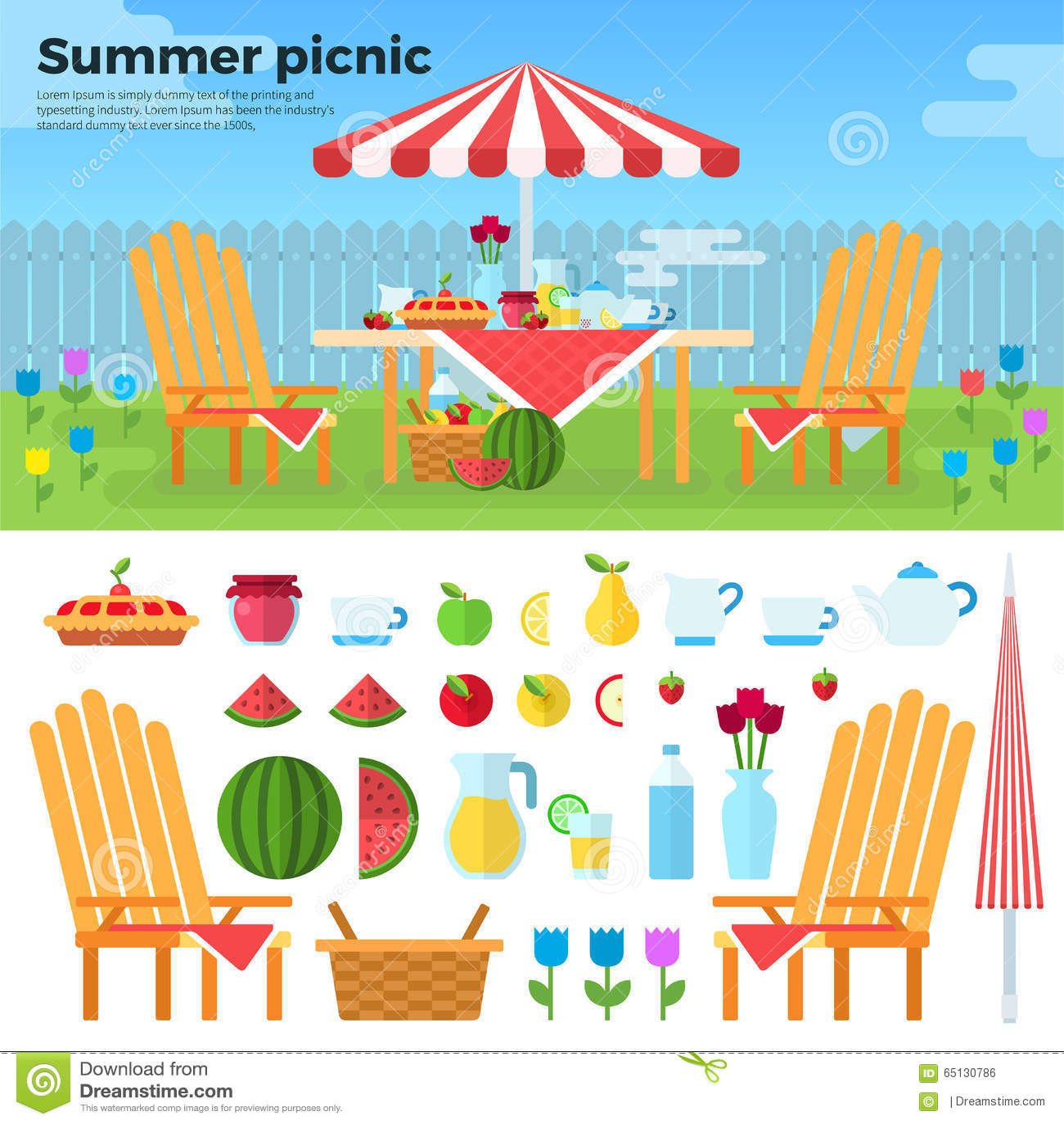 Piquenique do verão e ícones dos alimentos