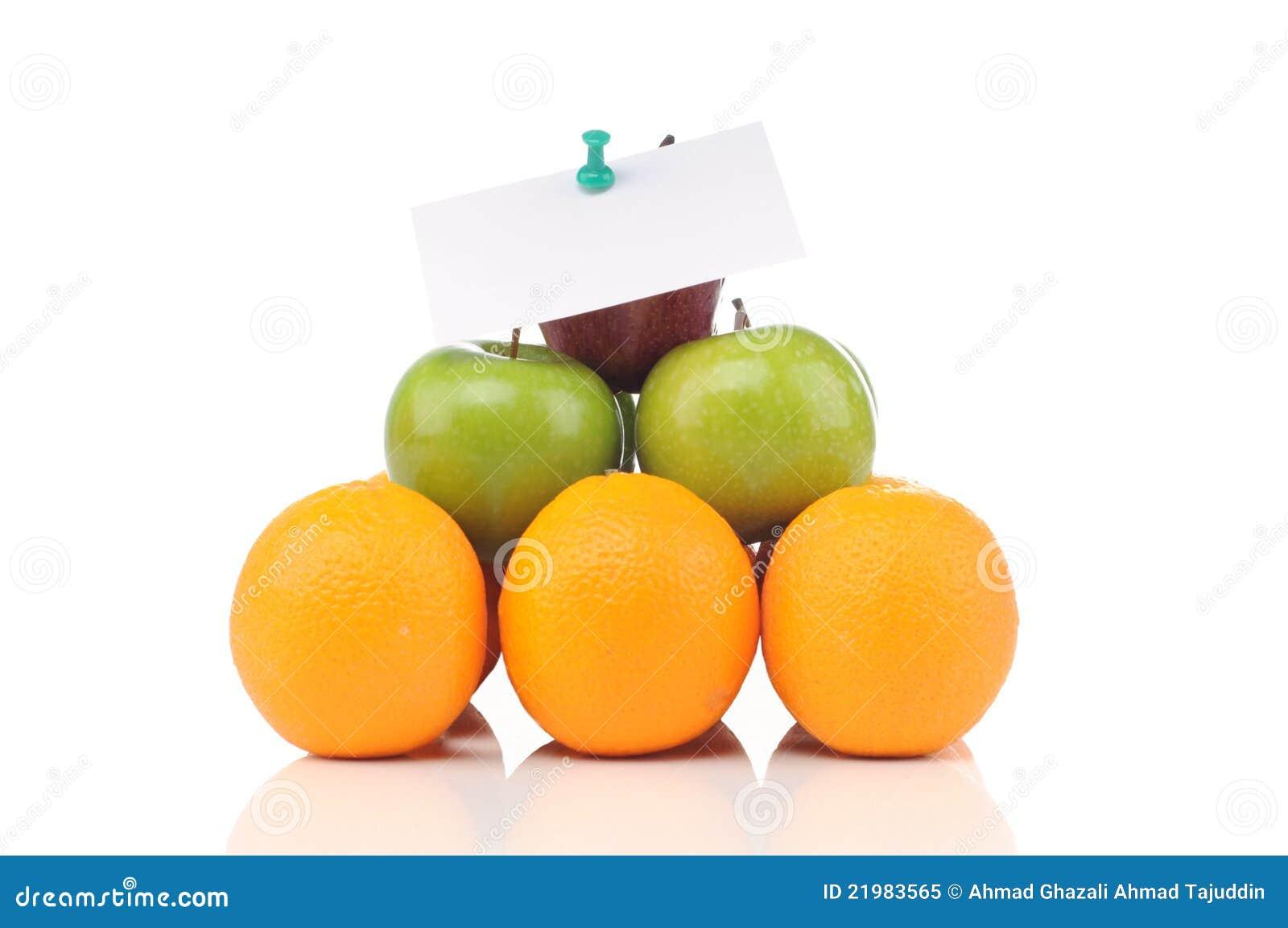 Pirámide de frutas con las notas