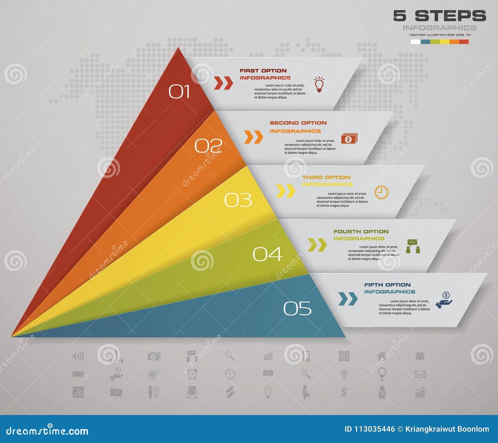 Pirámide de 5 pasos con el espacio libre para el texto en cada nivel infographics, presentaciones o publicidad