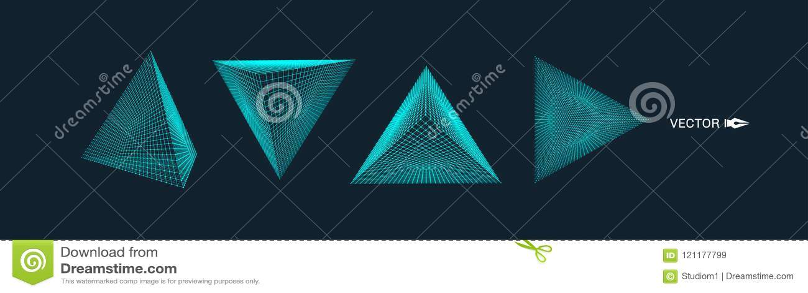 Pirámide Rejilla molecular estilo de la tecnología 3D Ilustración del vector Estructura de la conexión para la química y la cienc