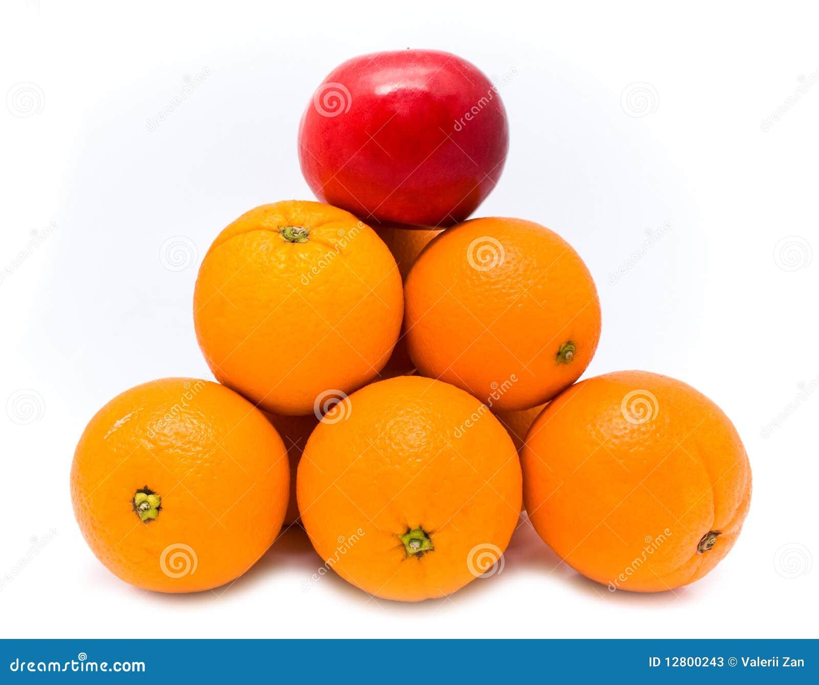 Pirâmide com laranja e maçã