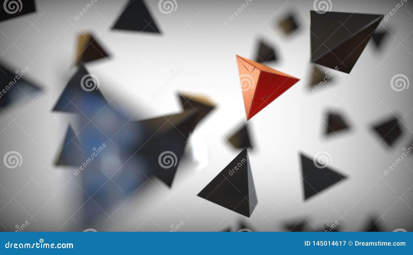 Pirâmide vermelha diferente entre pretos