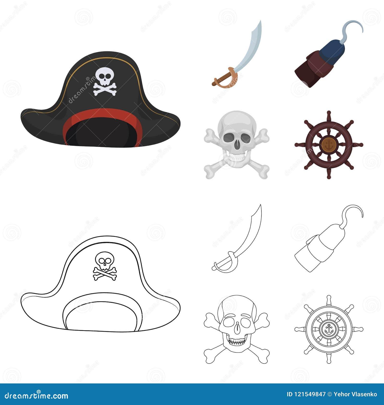 Piraat, bandiet, GLB, haak De piraten geplaatst inzamelingspictogrammen in beeldverhaal, schetsen Web van de de voorraadillustrat