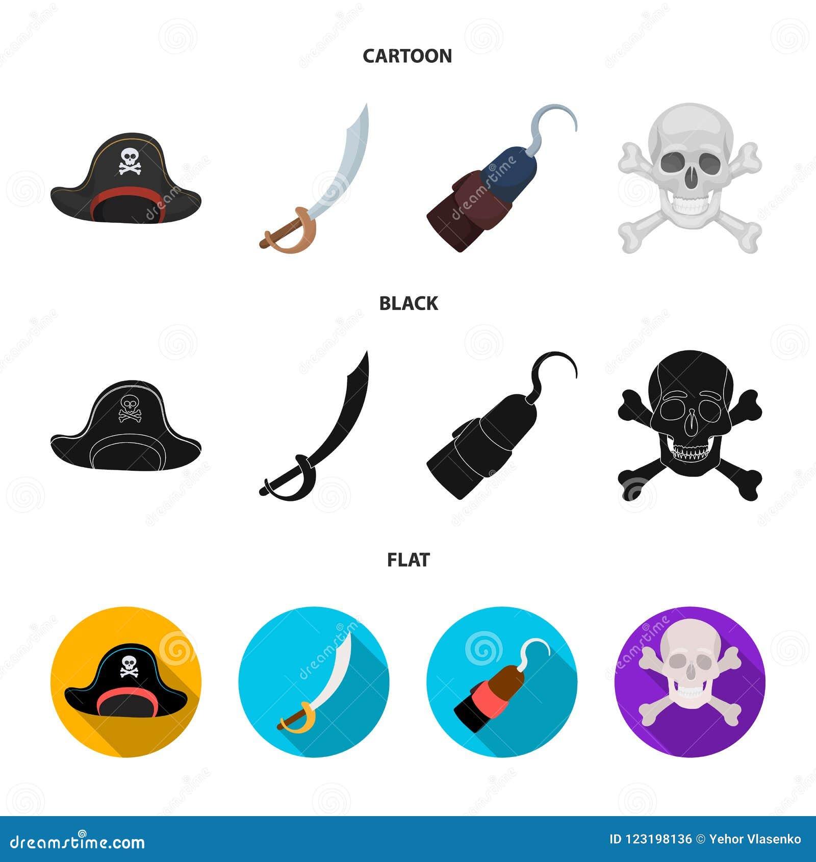 Piraat, bandiet, GLB, haak De piraten plaatsen inzamelingspictogrammen in beeldverhaal, het zwarte, vlakke Web van de de voorraad