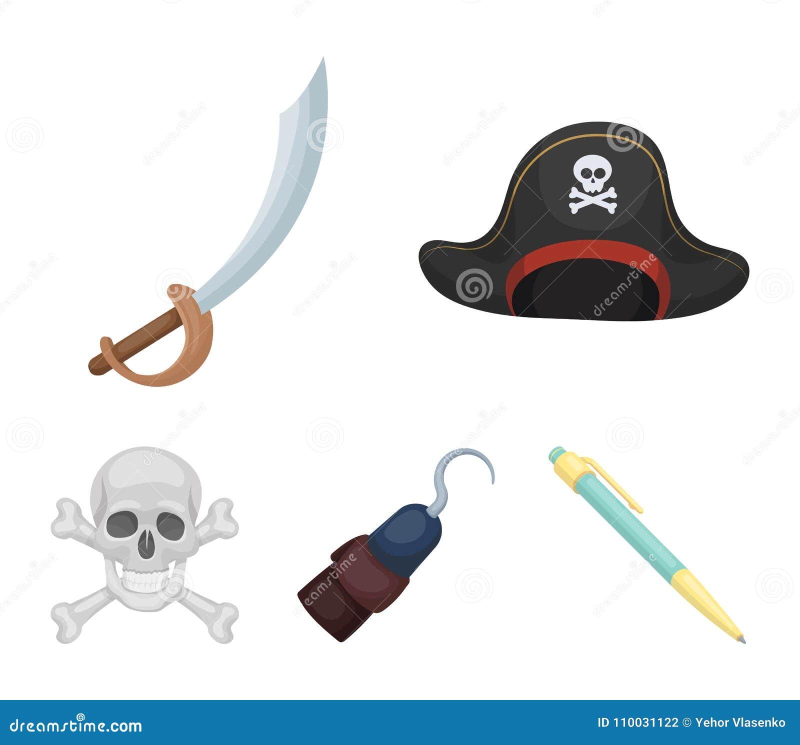 Piraat, bandiet, GLB, haak Piraten geplaatst inzamelingspictogrammen in van de het symboolvoorraad van de beeldverhaalstijl vecto