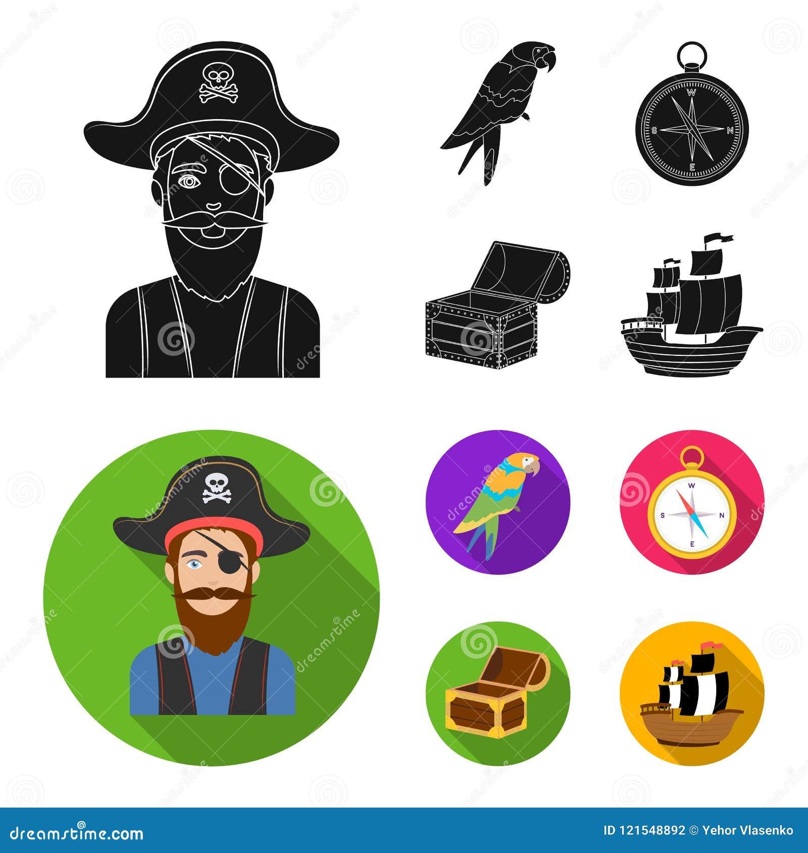 Piraat, bandiet, hoed, verband De piraten plaatsen inzamelingspictogrammen in het zwarte, vlakke Web van de de voorraadillustrati