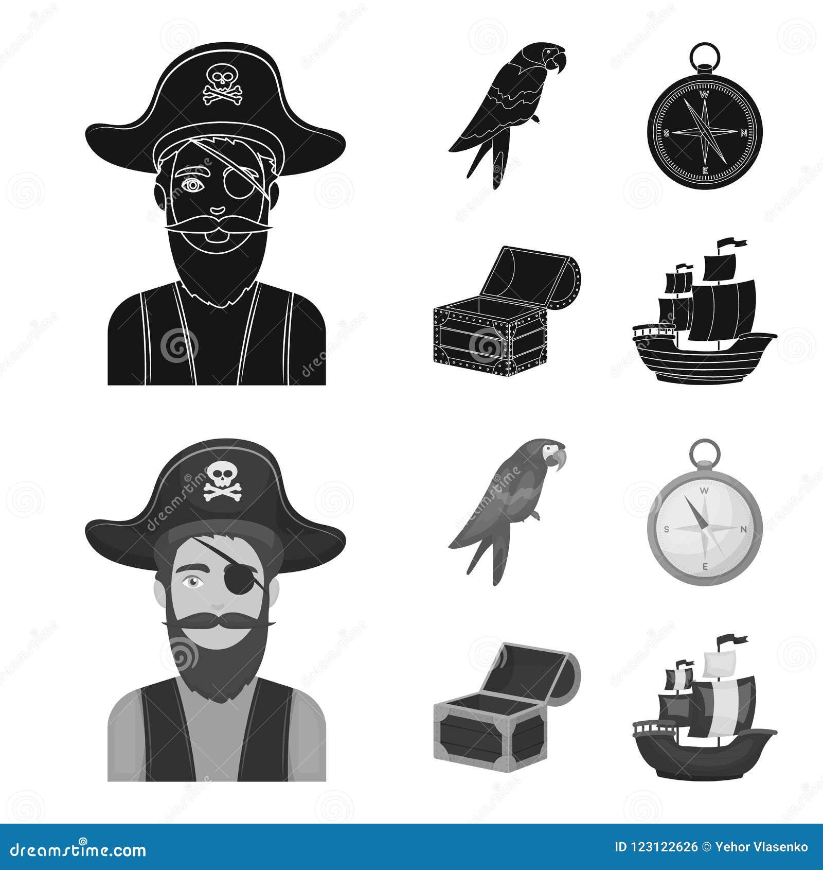 Piraat, bandiet, hoed, verband De piraten plaatsen inzamelingspictogrammen in zwarte, monochrom Web van de de voorraadillustratie
