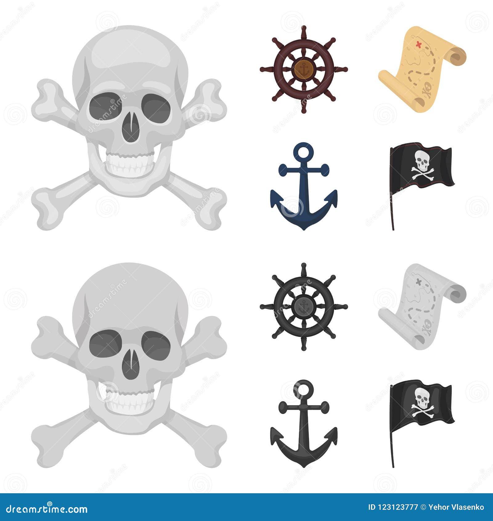 Piraat, bandiet, leidraad, vlag De piraten plaatsen inzamelingspictogrammen in beeldverhaal, zwart-wit de voorraadillustratie van