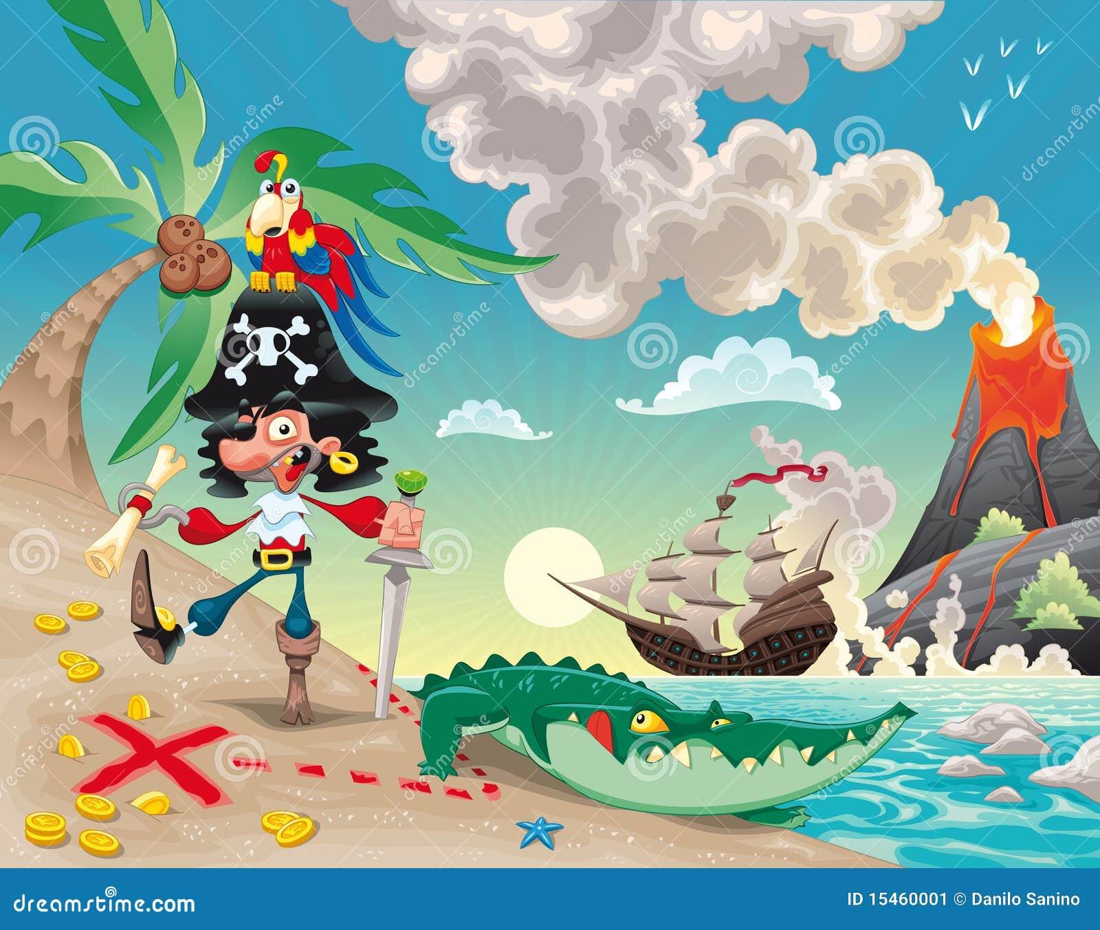 Piraat op het eiland.
