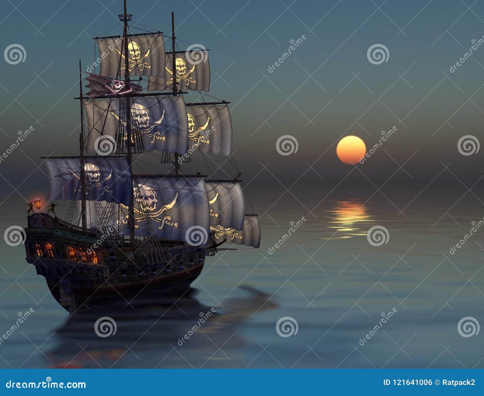 Piraatschip die in de zonsondergang varen
