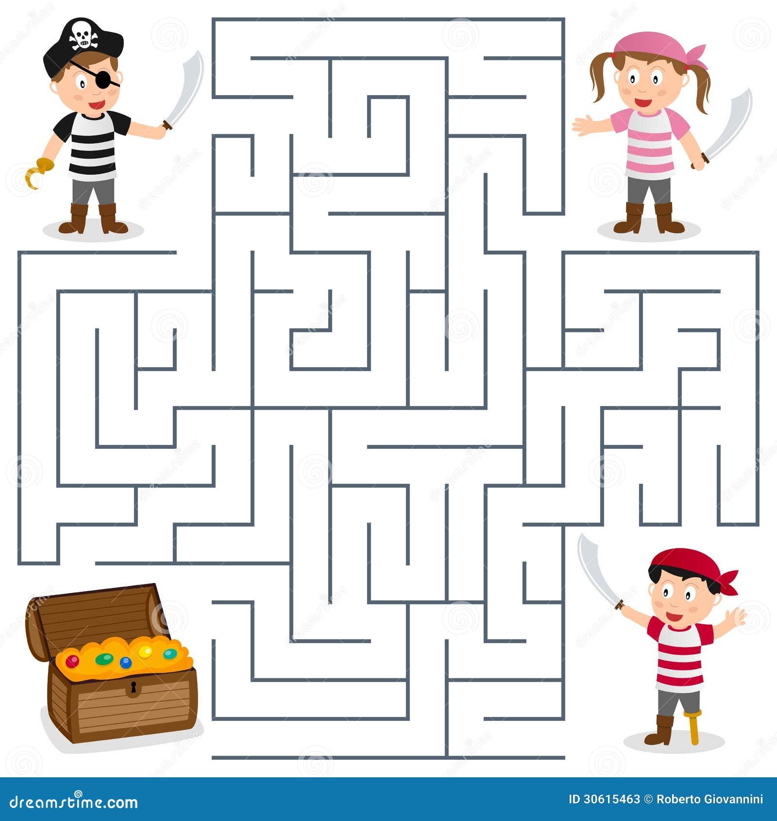 Piraci & skarbu labirynt dla dzieciaków