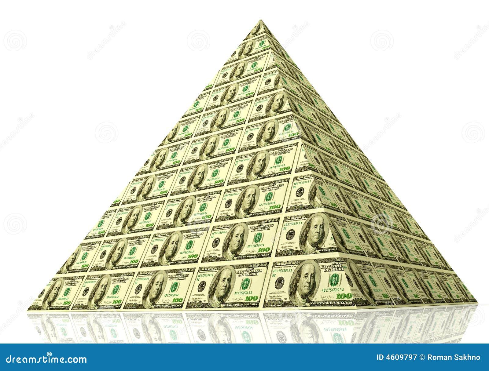 Piramide finanziaria. concetto 3d delle finanze globali e dei soldi
