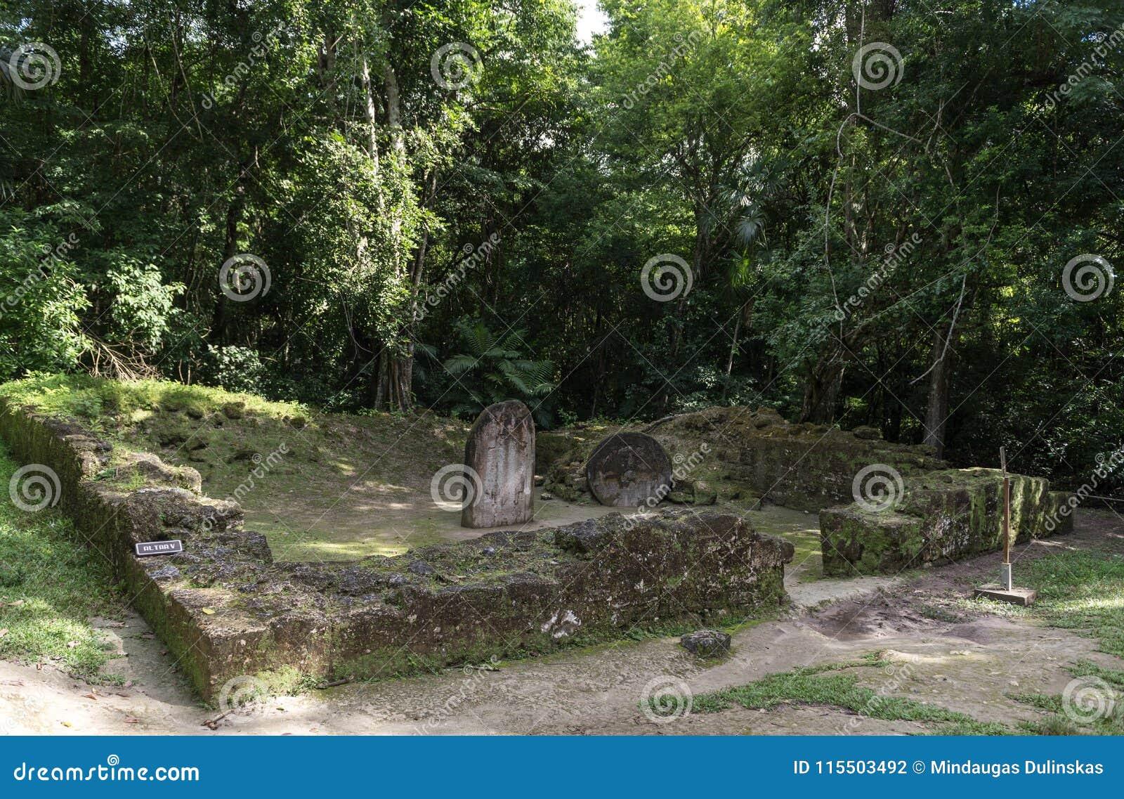 Piramide ed il tempio nel parco di Tikal Oggetto facente un giro turistico nel Guatemala con le tempie maya e le rovine di Ceremo