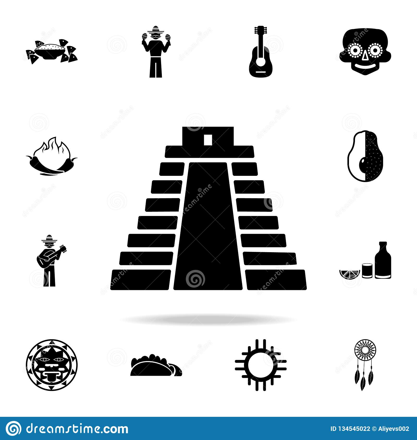 Piramide in het pictogram van Mexico Gedetailleerde reeks de cultuurpictogrammen van elementenmexico Premie grafisch ontwerp Één