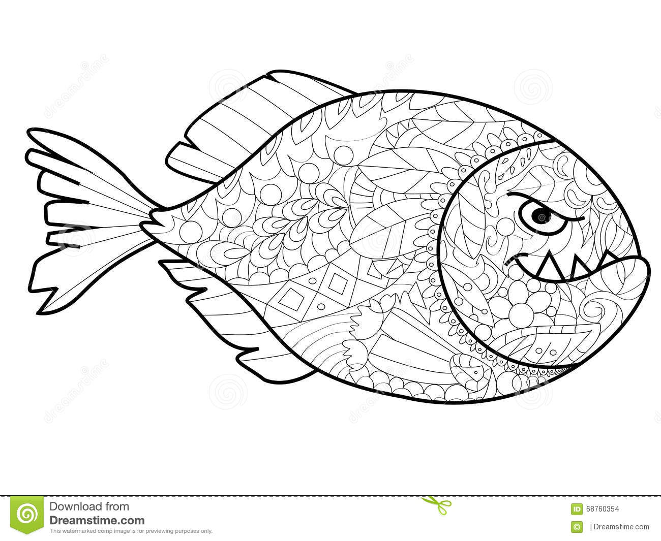 Piranha Coloring Vector For Adults Stock Vector Illustration Of