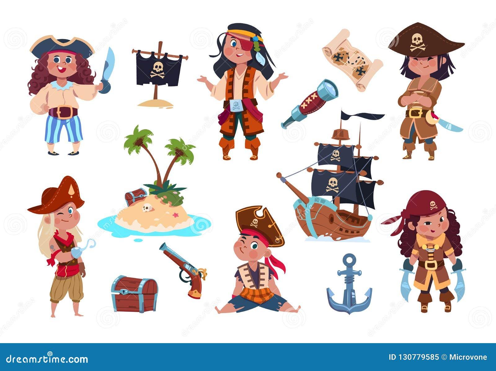 Piratów charaktery Kreskówka żartuje piratów, żeglarzów i kapitanu wektor odizolowywającego setu,