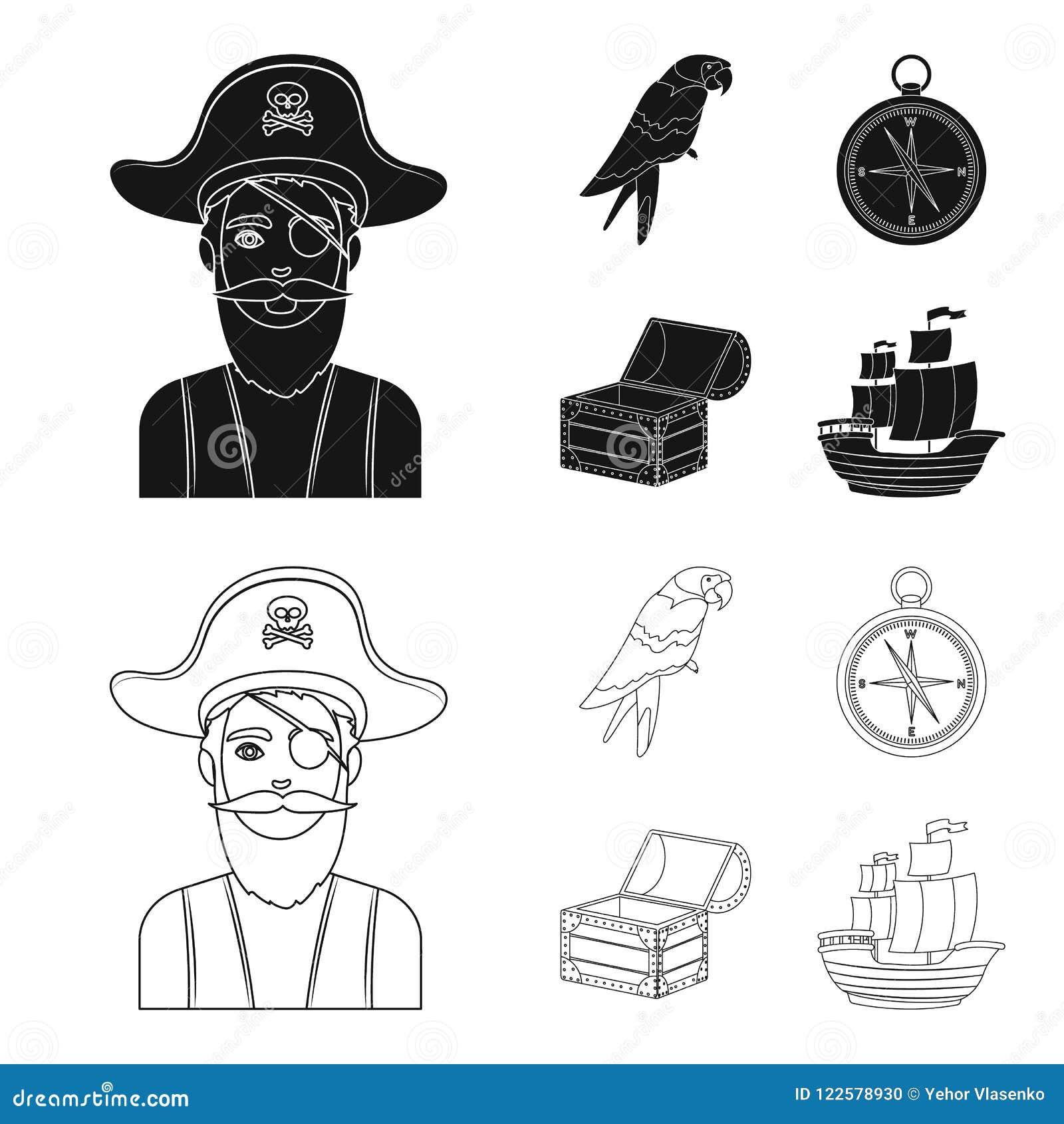 Pirat, Bandit, Hut, Verband Piraten stellten Sammlungsikonen im Schwarzen, Entwurfsartvektorsymbolvorrat-Illustrationsnetz ein
