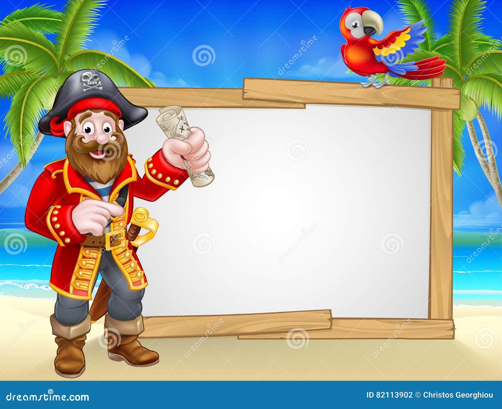 Pirat kreskówki plaży znaka tło