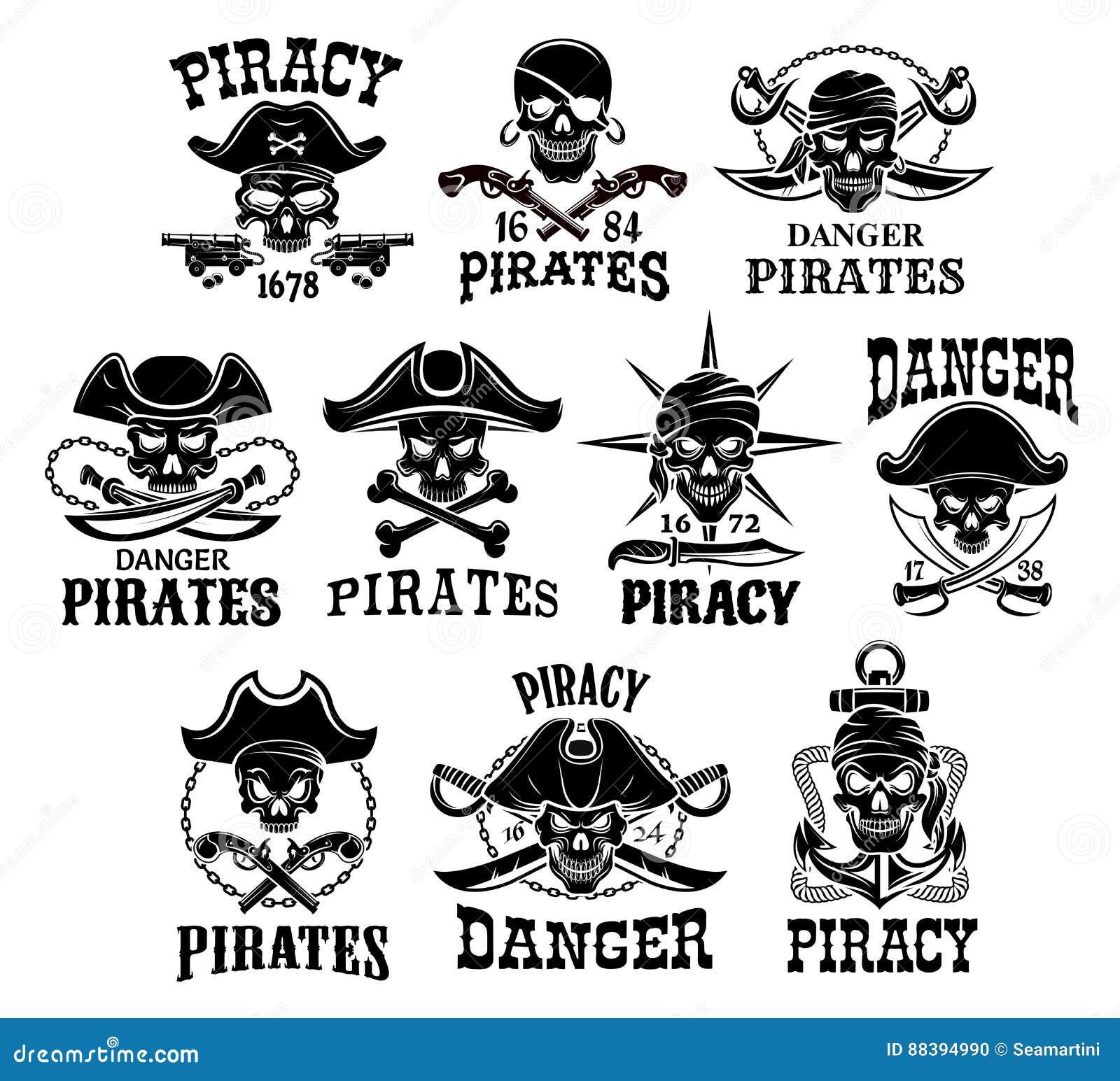 Pirat lub Bycze Roger wektorowe ikony ustawiający