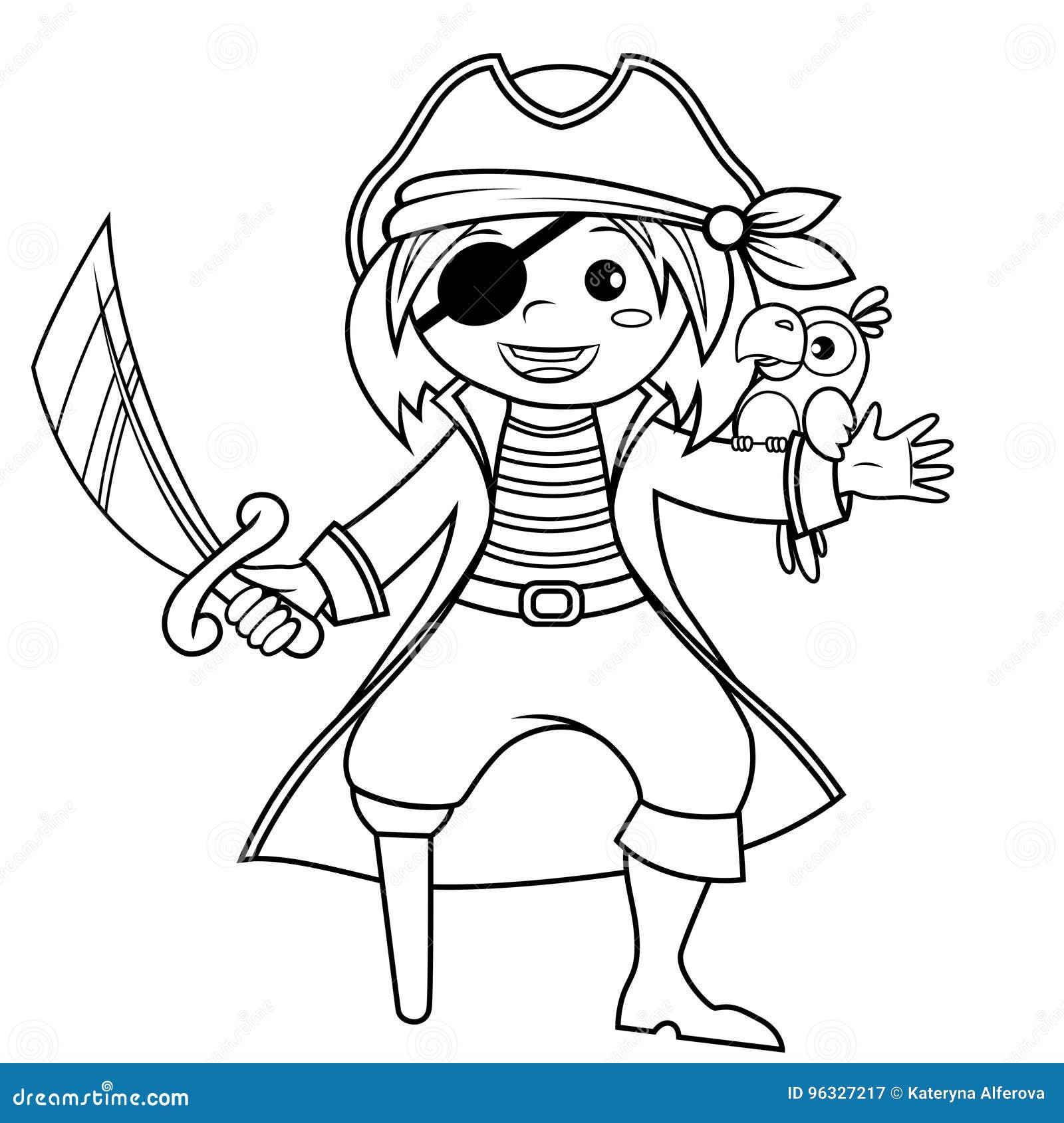 pirata con el loro ejemplo blanco y negro del vector para