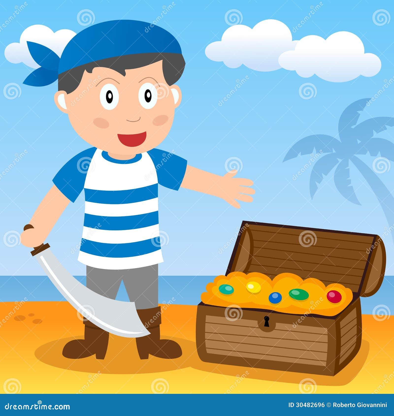 Pirata con il tesoro su una spiaggia
