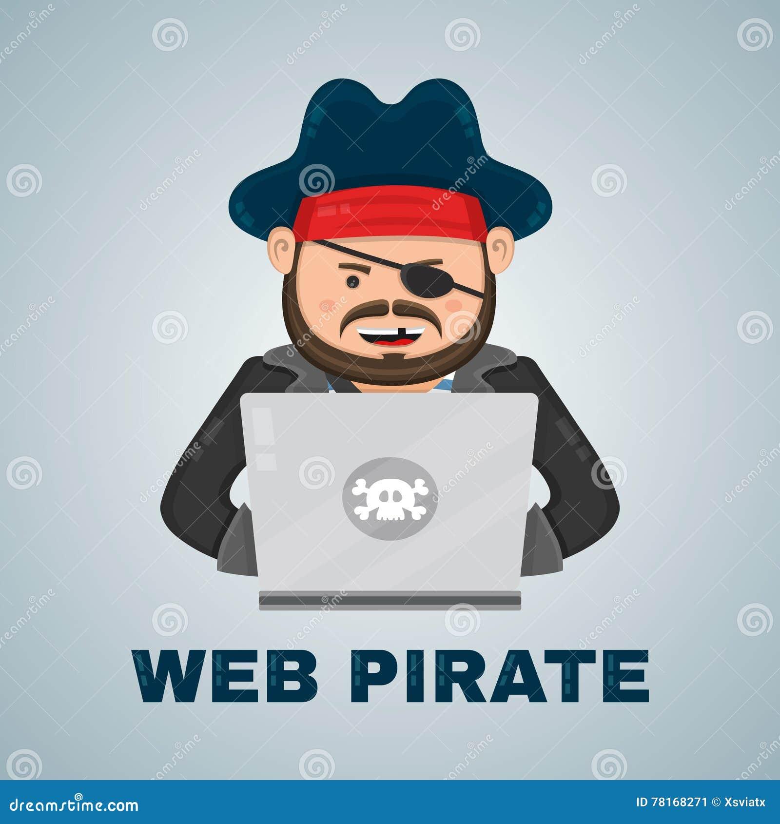 Pirata di Internet con un computer portatile illustrazione del carattere isolata piano di vettore concetto contento di download e