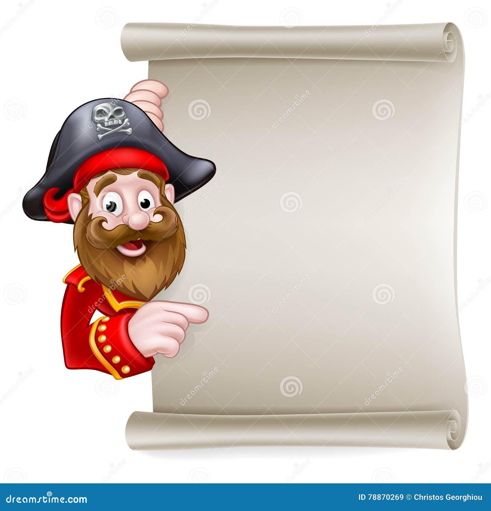 Pirata dos desenhos animados que aponta no sinal do rolo
