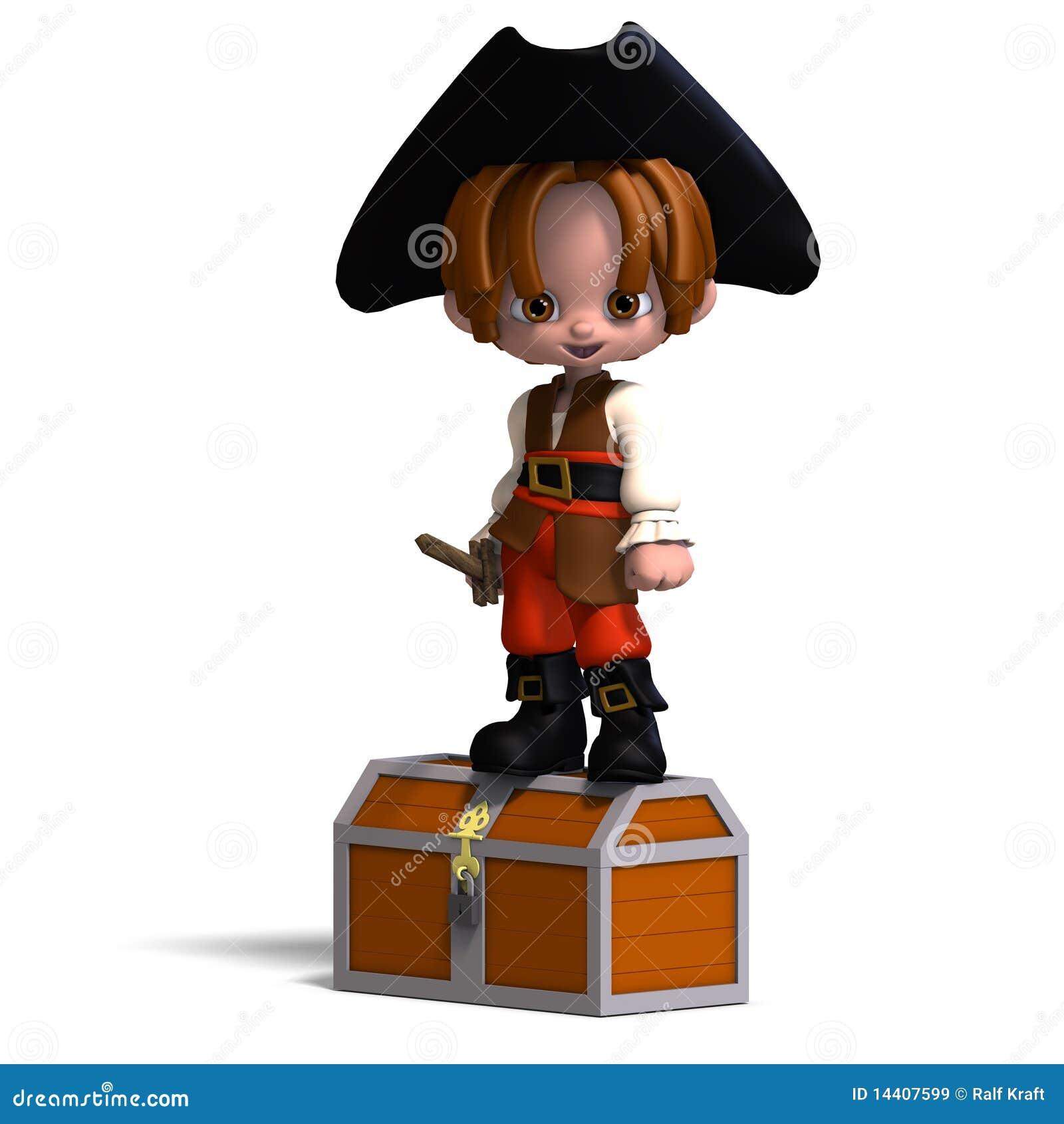 Pirata dulce y divertido de la historieta con el sombrero. 3D