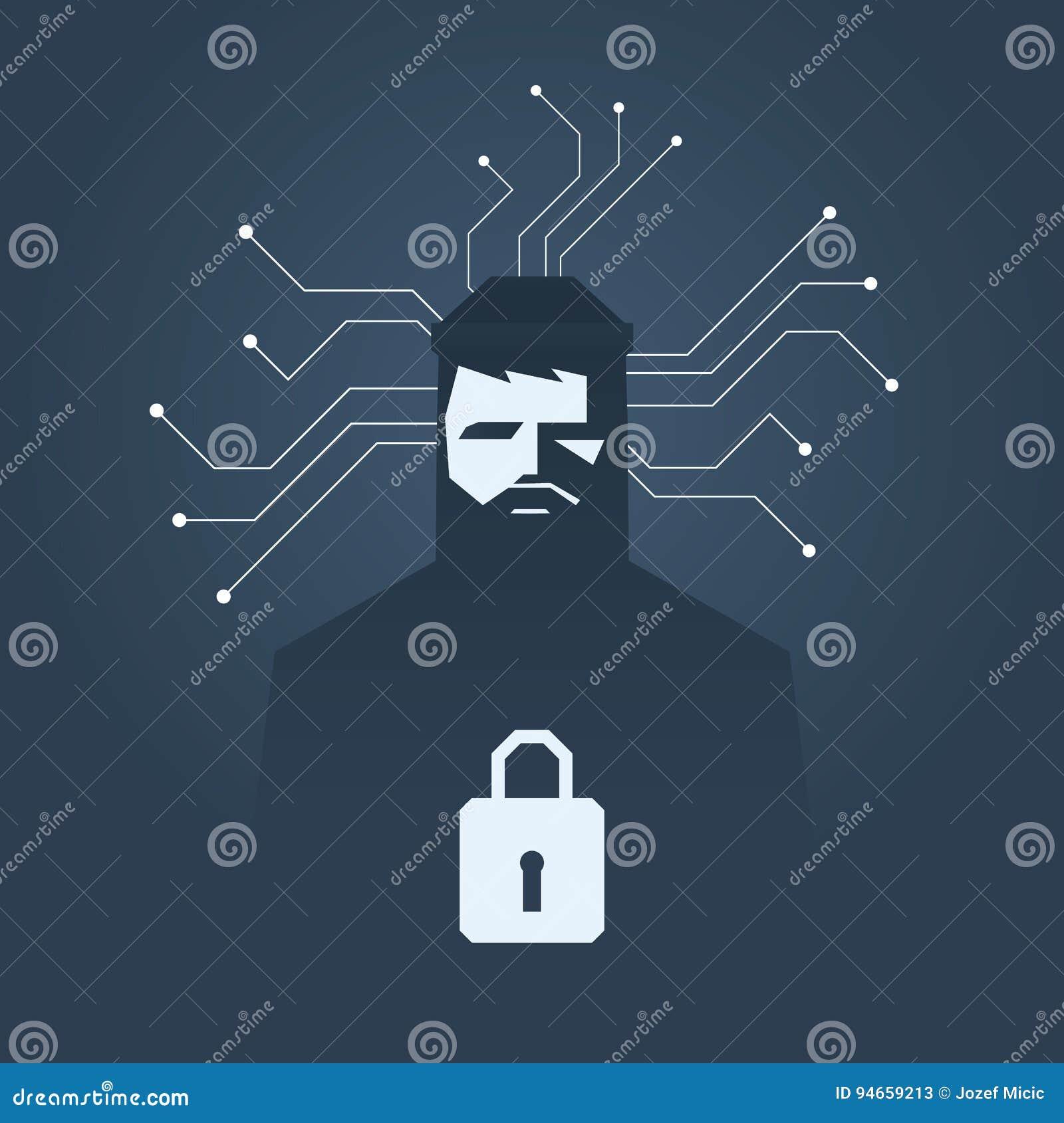 Pirata informático de ordenador y concepto del vector del ransomware El cortar criminal, hurto de los datos y símbolo de chantaje