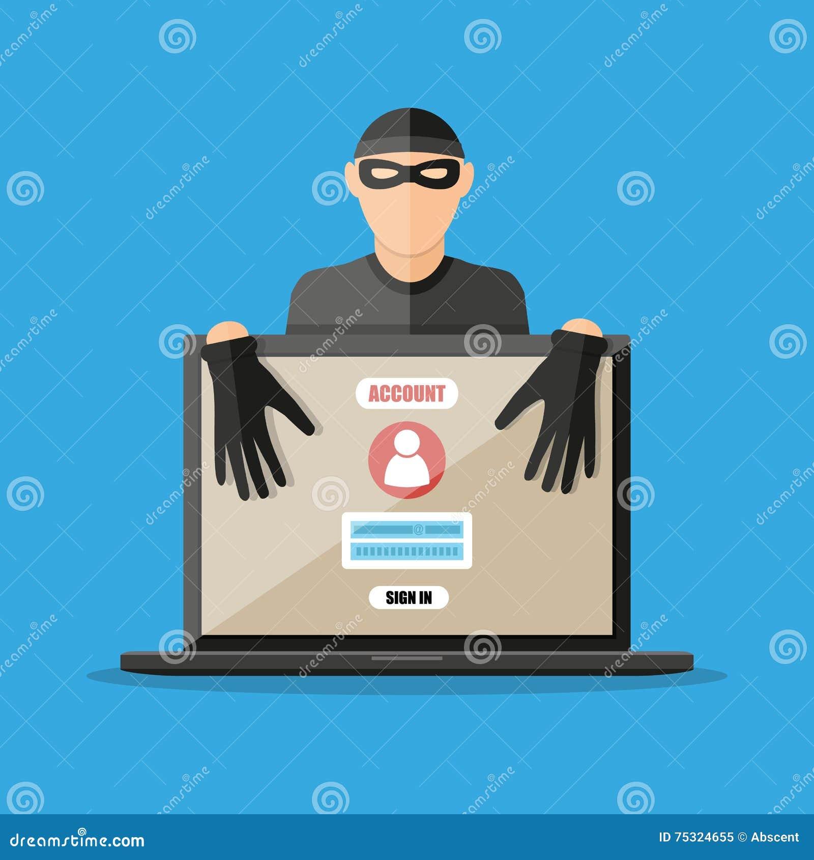 Pirata informático del ladrón que roba contraseñas del ordenador portátil